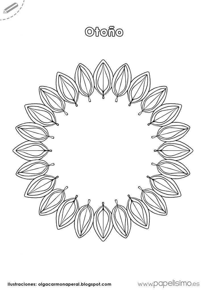 Corona-hojas-de-otoño-para-colorear … | Pinteres…