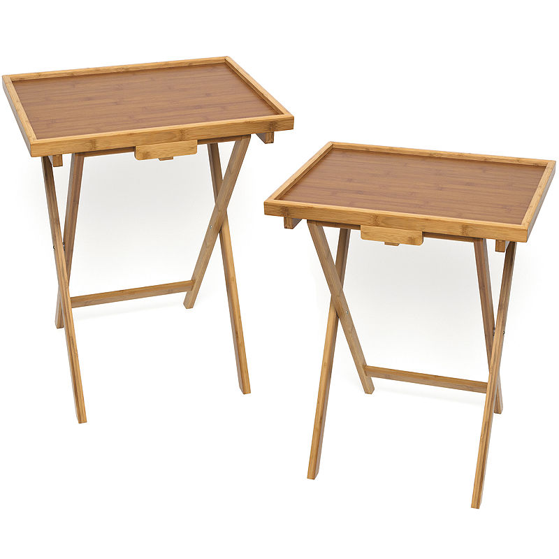 Bamboo Snack Set Of 2 Tv Tray Tables With Lip Products