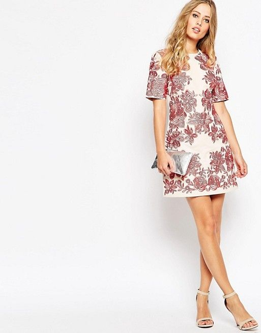 ASOS Flower Embroidery T-Shirt Dress