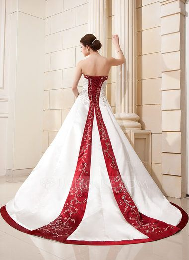 8b5ca1f66268 Ball-Gown Sweetheart Chapel Train Satin Wedding Dress With Embroidered Sash  Beading Sequins (002004606) - JJsHouse