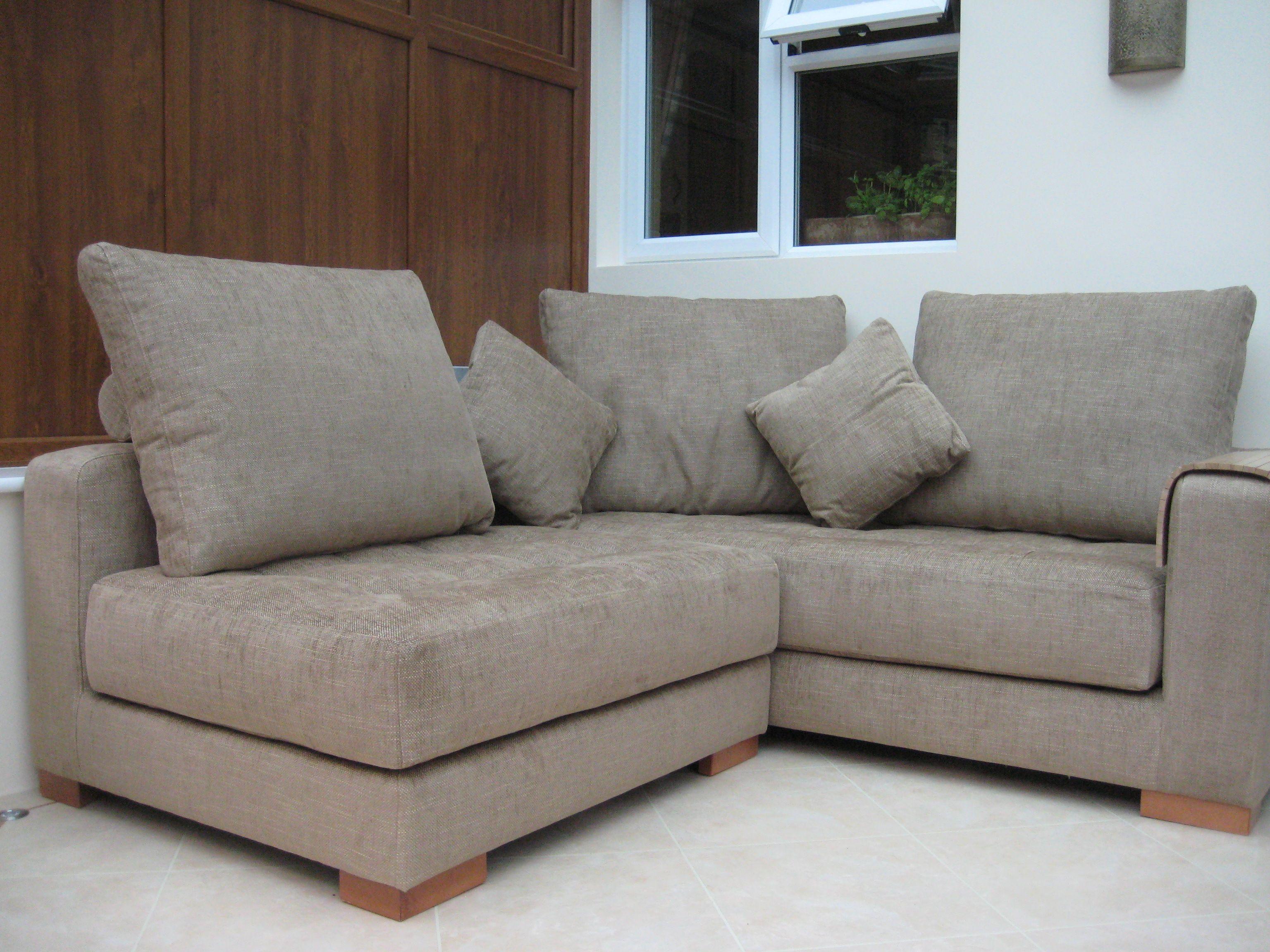 Sofa modules in Warwick Fabric Habitat II – balsa - with oak wood ...