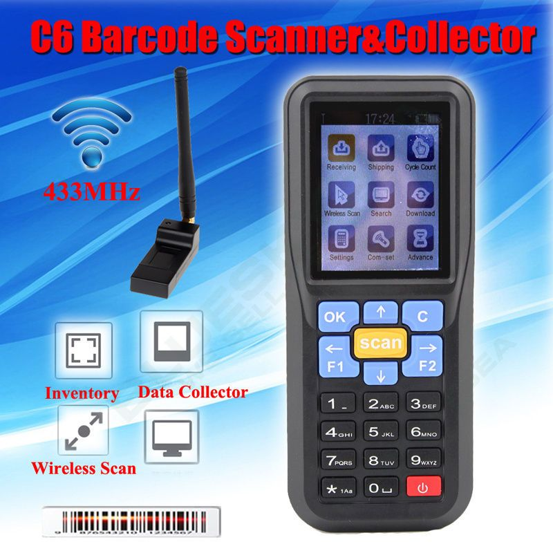 Free shipping! C6 433MHz Laser Barcode Scanner Wireless