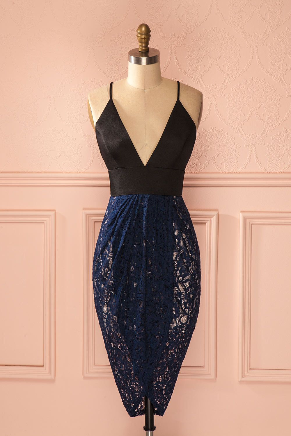 Lace dress navy blue  Seanna  Lace wrap Navy lace and Wrap dresses