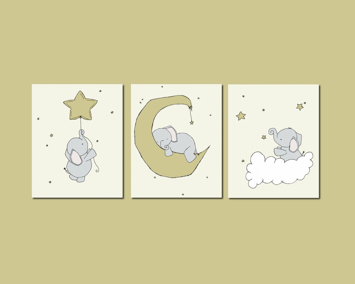 Nursery Art -- Elephant Nursery Art Prints -- Set of 3 Prints ...