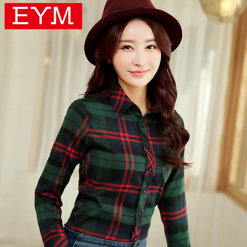 e97a4a9ae51 2016 Hot Sale Spring Brand Women s Clothing Plaid Casual shirts Long Sleeve  Shirt Outerwear Loose Plus. Plus Size SummerSummer BlousesCasual ...