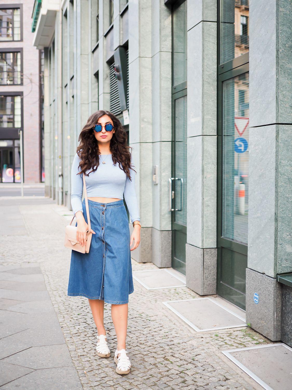 398a091989a2 Denim Midi Skirt | Favourite Fashion Blogger Looks & Streetstyles ...