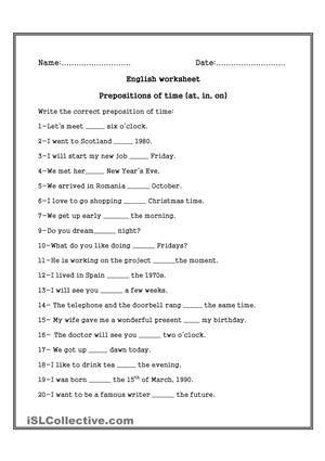 prepositions of time worksheet esl worksheets lulu. Black Bedroom Furniture Sets. Home Design Ideas