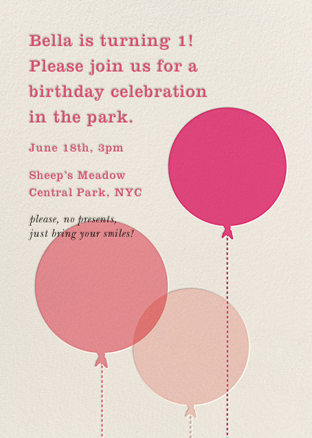 Balloon baby by kate spade new york for paperless post online online invitations for kids birthdays made with easy to use design tools and rsvp tracking view other kids party invitations on paperlesspost stopboris Images