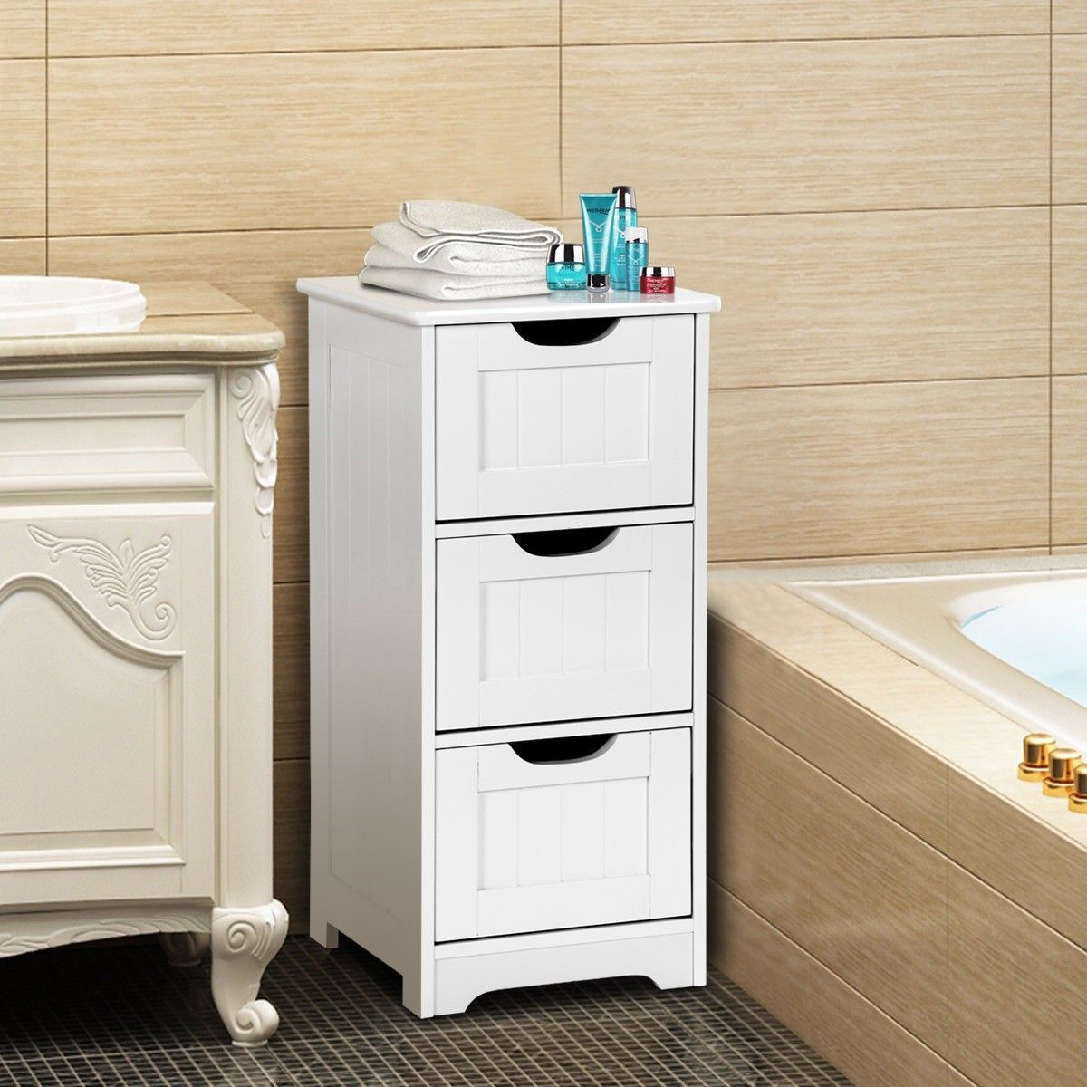 Bathroom Wooden Free Standing Storage Side Floor