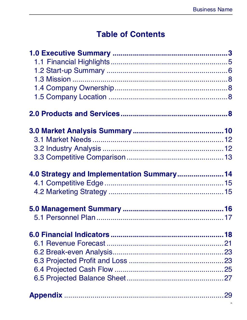 Business Plantemplate Masterplansdoc 3