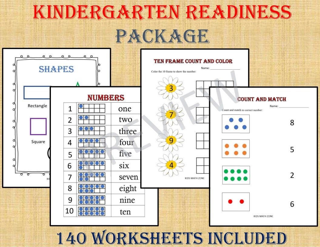 KINDERGARTEN Readiness Package (140 Worksheets) / pdf