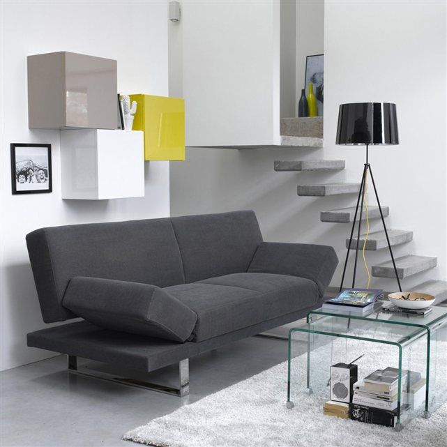 Canape Design 3 Places Convertible Accoudoirs Relevables