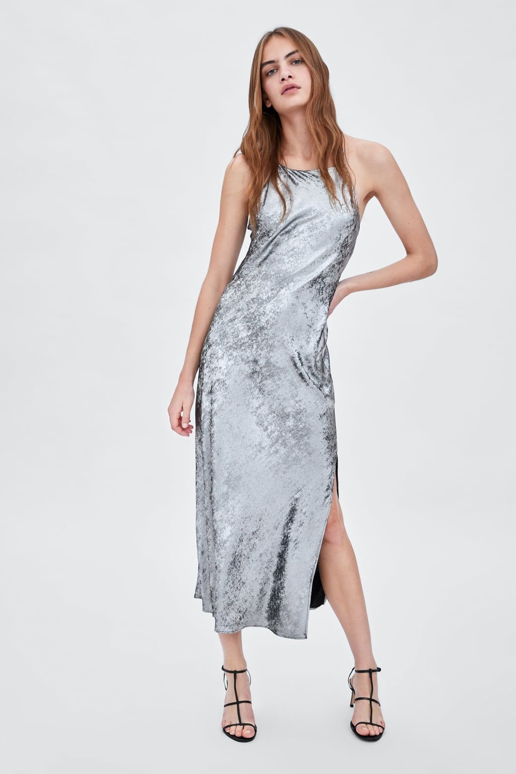 24e393f3d6c2 Image 1 of METALLIC LONG DRESS from Zara
