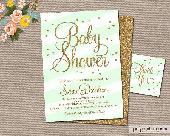 Mint Green Gold Glitter Baby Shower Invitations