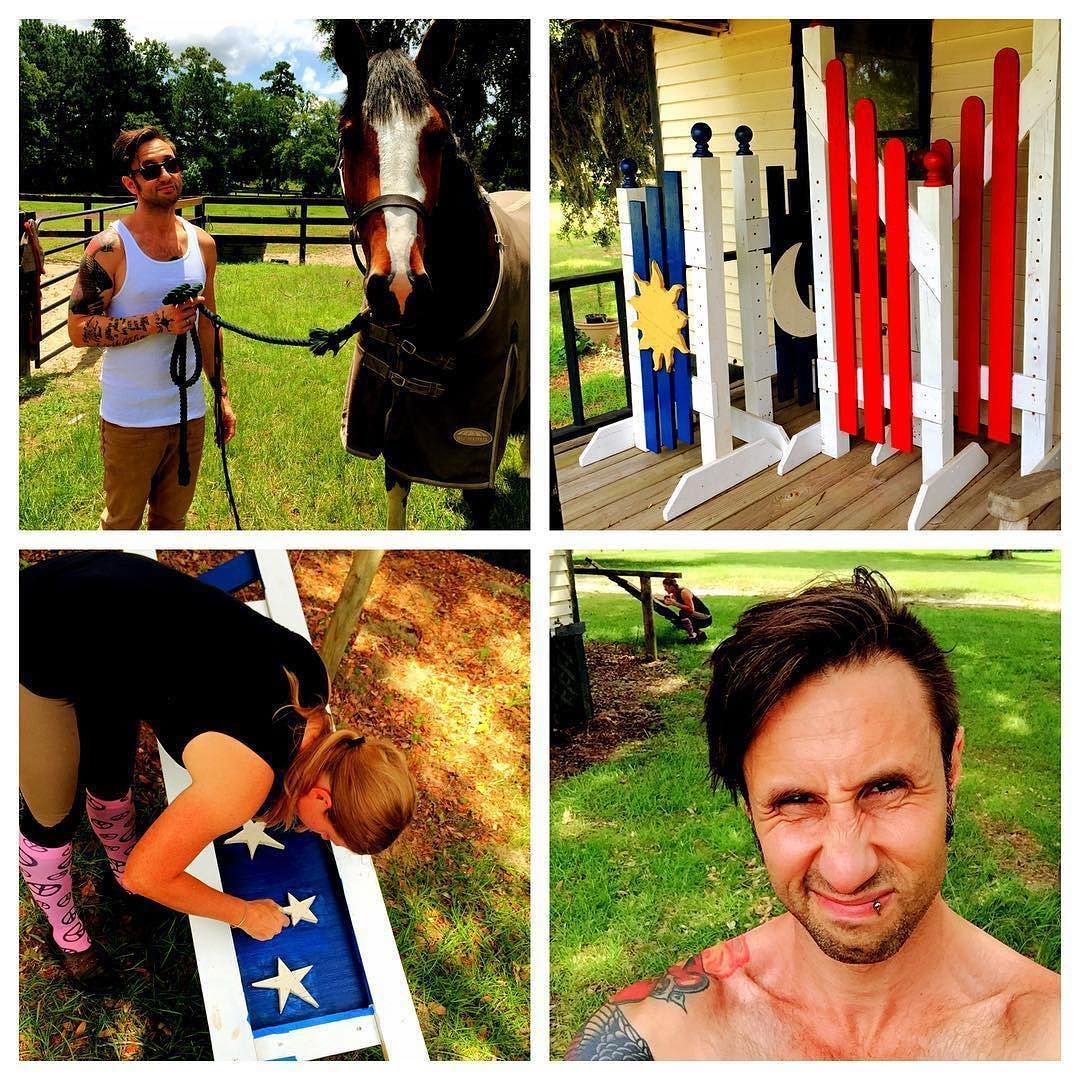 #Repost @shinedown: Day 1 at home for @ebassprod: Barn day. Met the our new import baby and painted some jumps. #rockstarlife