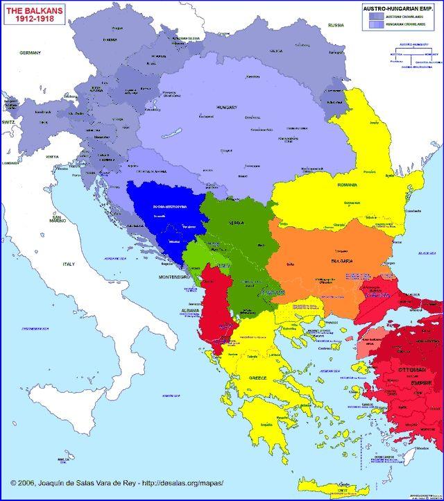 Map of Balkan Peninsula 19121918 (With images) Map