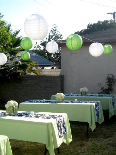 Damask And Green Birthday Party Ideas Green Party Decorations House Party Decorations Green Graduation Party