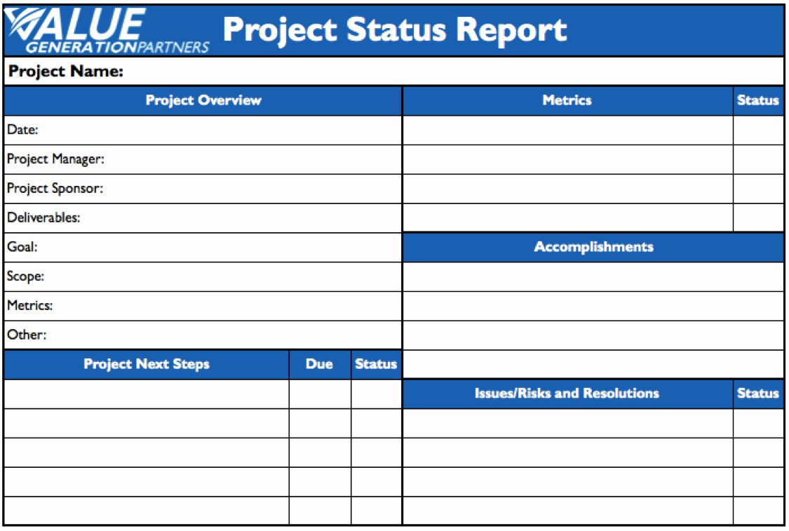 Project Status Report Template Word Elegant Project Management Value Generation Partners Vblog In 2020 Project Status Report Progress Report Template Report Template