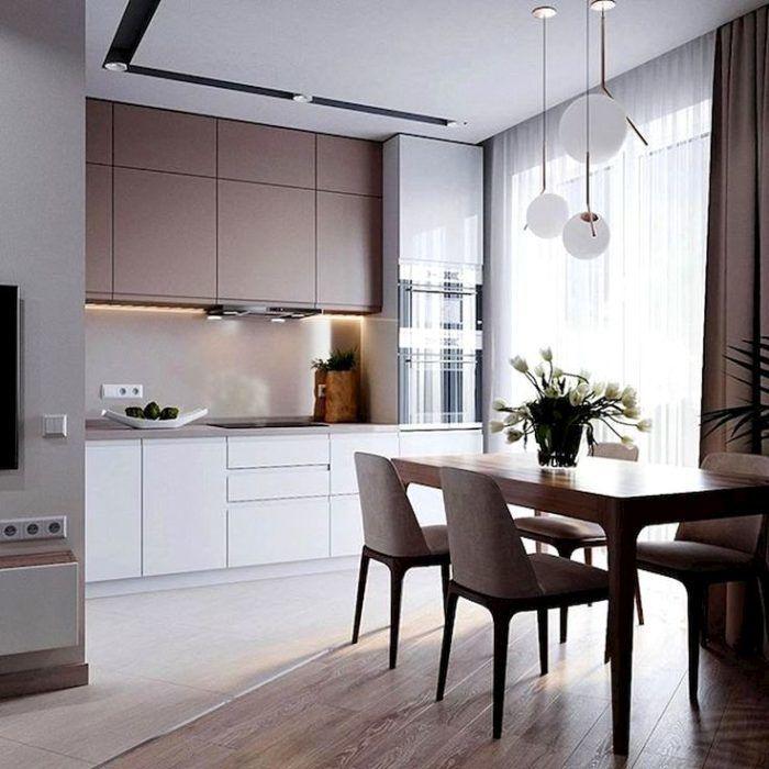 Дизайн кухни цвета какао с молоком | Интерьер, Планы кухни ...