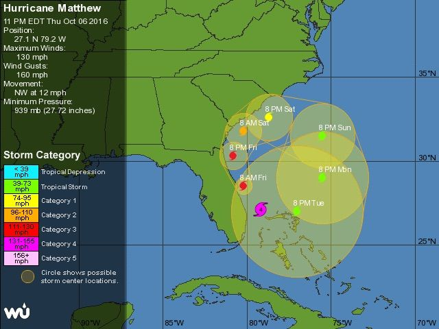 Matthew Toys With Florida Coast; Major Surge Threat Remains | Dr. Jeff Masters' WunderBlog