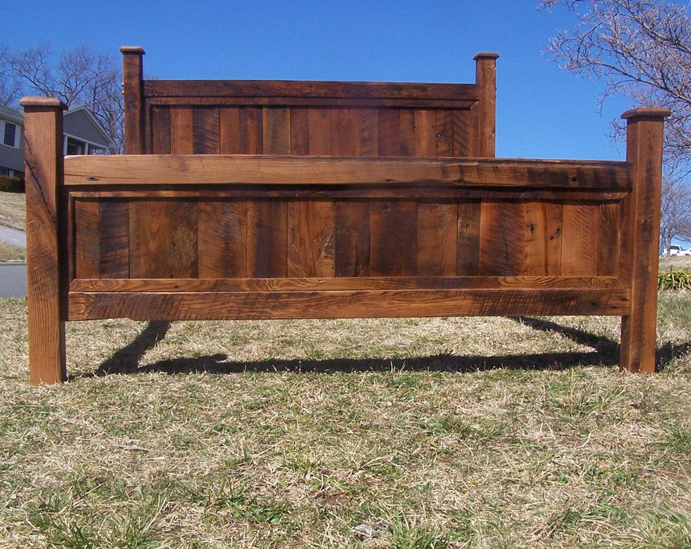 King bed frame wood - Original Aged Cedar Barn Wood Style Bed Frame Headboard Set Handmade In Chicago Usa Chicago Beds And Style
