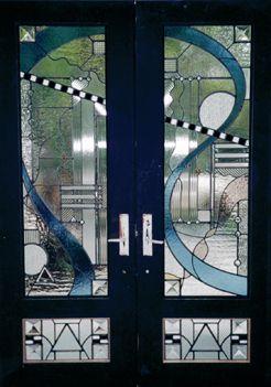 Artglassbywells Contemporary Custom Art Glass Double Doors In Houston Texas Stained Glass Door Stained Glass Stained Glass Windows