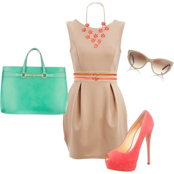 Neutral Corals & Mint by rainades on Polyvore