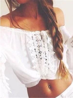 64f0cbe9fcab Fashion Lace Hollow Off Shoulder Boho T Shirt Tops Blouse in 2018 ...