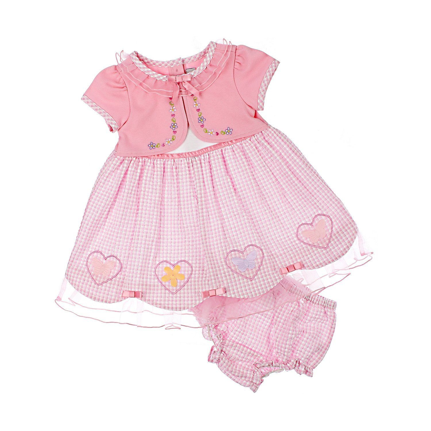 Youngland Baby Girls Pink Short Sleeve Ruffle Heart Cardigan Dress