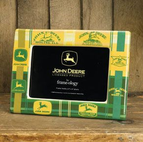 John Deere Yellow And Green Plaid Picture Frame 0 Picture Frames