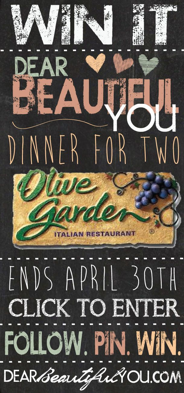 Dear Beautiful You is having an Olive Garden Giveaway
