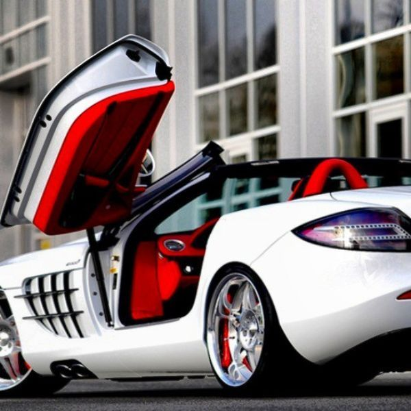 Mercedes Benz SLR McLaren Roadster White With A Cherry Red Interior!  Gorgeous! Price: