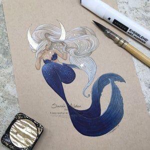 Arctic Mermaid Art, Baby Harp Seal Mermaid Print, Original Mermaid Painting, Harp Seal Painting, Mermaid Drawing