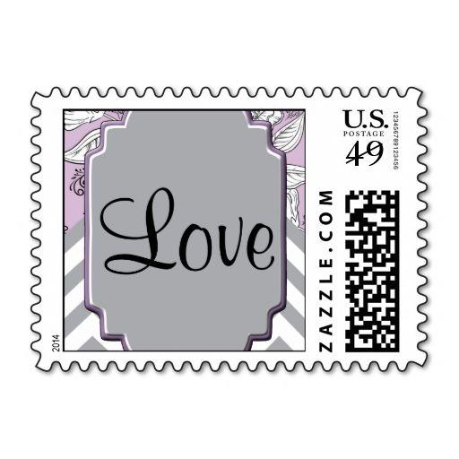 Vintage Floral Chevron Posh Postage Stamp Wanna Make Each Letter A