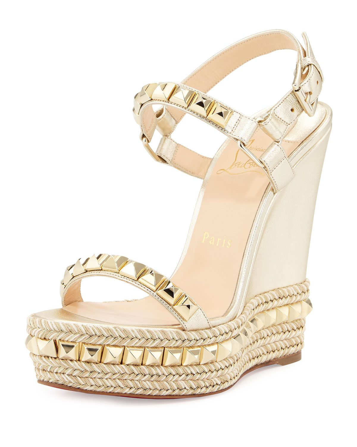 Christian Louboutin Cataclou Studded Leather Wedge Red Sole Sandal,  Sahara/Light Gold