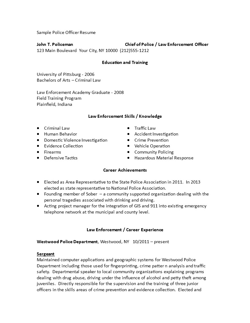 Sample Police Officer Resume How to draft a Police