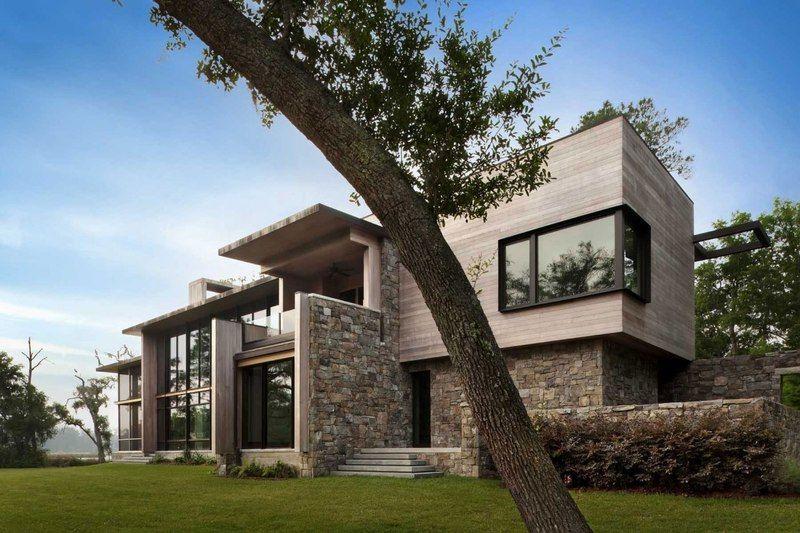 Magistrale maison bois et pierre contemporaine sur lîle de bray usa
