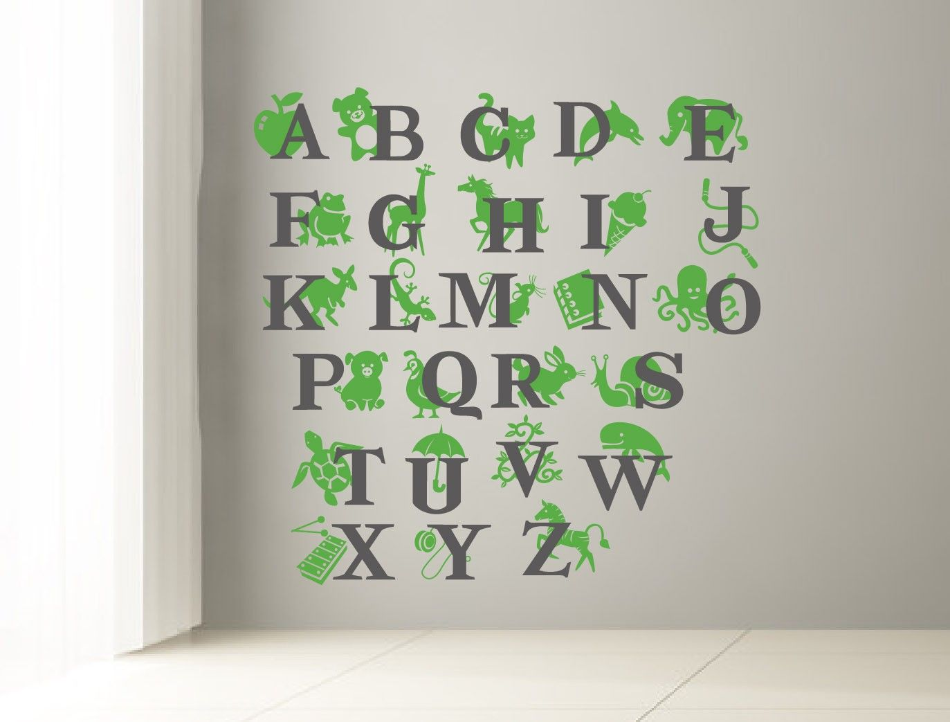 ABC Wall Decal. Alphabet Decal For Kids Room. Letters And Animals Decal  Sticker For