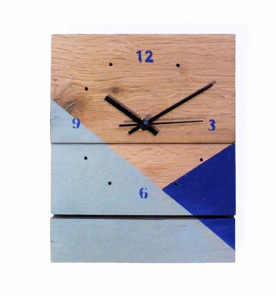 Horloge Bois Bleu Gris Et Bleu Roi Par 56phalanges Sur Etsy