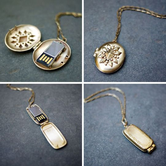 Emily Rothschild USB Lockets ... each pendant opening up to reveal a 2GB USB flash drive, perhaps filled with all of our fondest photos...