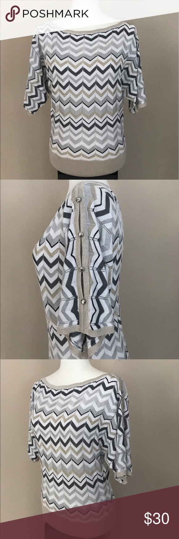 """🆕 NWOT-WHBM Gold Metallic Chevron Dolman Sleeve Size XS - This Lightweight Sweater Knit Material is in Perfect Flawless Condition - Has a Gold Band Bottom - Has a Chevron Print in Beautiful Colors Metallic White/Charcoal Grey/Silver/Gold/Oatmeal - Has Dolman Sleeves with Cutouts & Silver Button Detailing (shown in 2nd picture) - Approximate Measurements are: Length from Shoulder to Bottom Hem is 25"""" & Bust from Armpit to Armpit is 18"""" White House Black Market Sweaters Crew & Scoop Necks"""