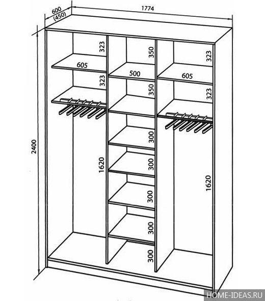 Встроенный шкаф для прихожей своими руками чертежи 4
