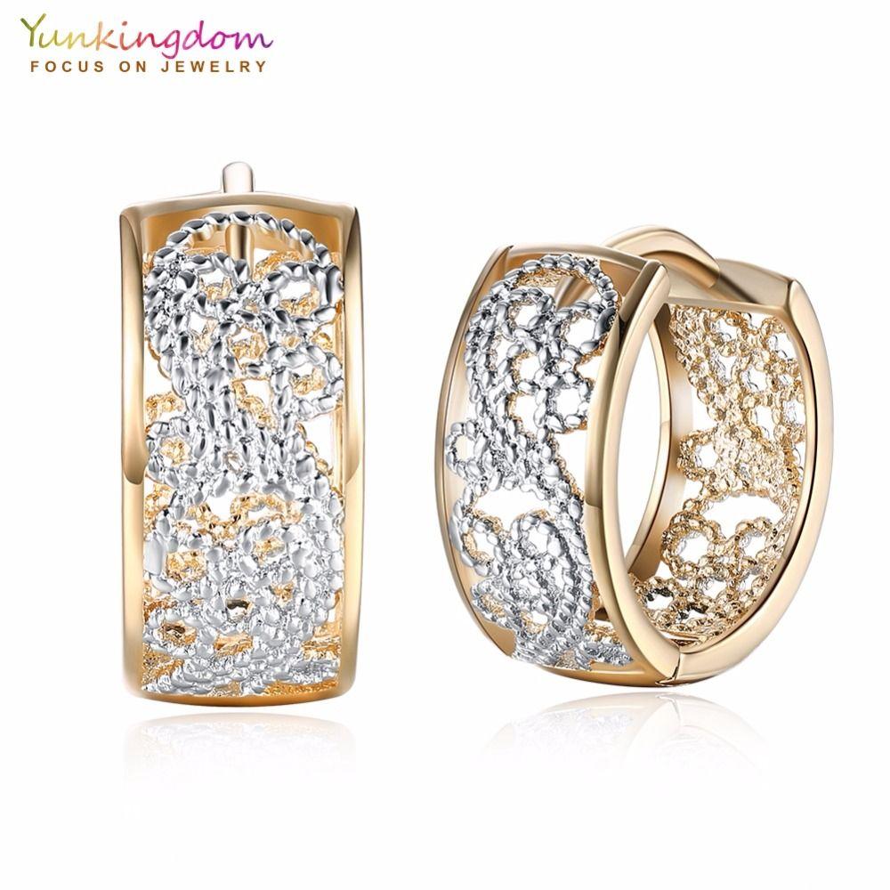 All Size Fashion Dainty Small CZ Diamond Earring Hoops,Hypoallergenic 18K Yellow Gold Cubic Zirconia Studs Hoop Earrings For Women Girls Sensitive Ears