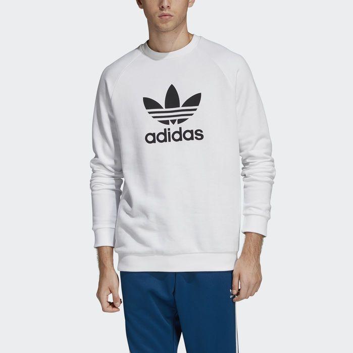 Trefoil Warm Up Crew Sweatshirt White Mens | Crew