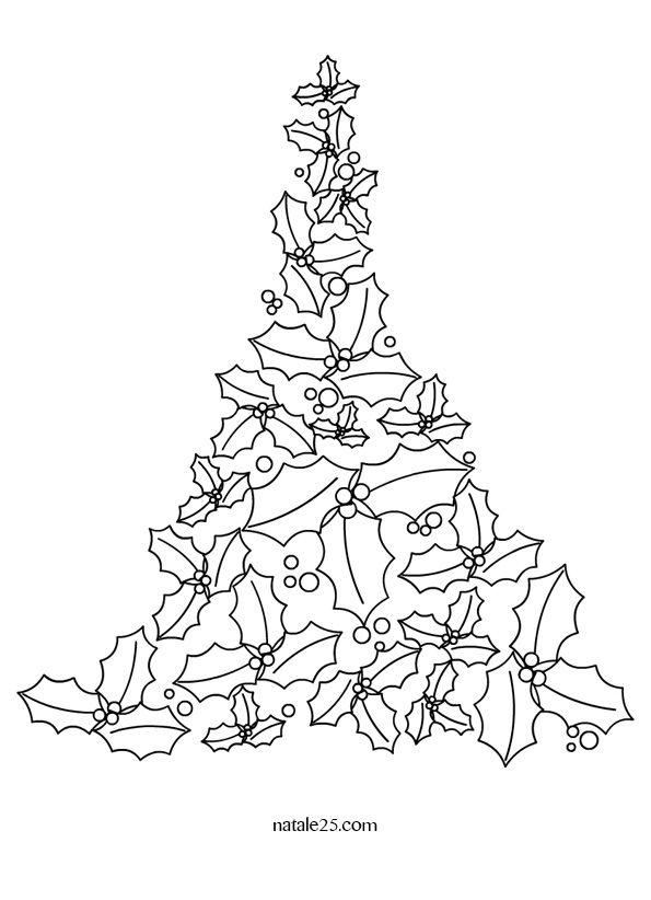 Disegno Albero Di Natale Con Foglie Di Agrifoglio Immagini E