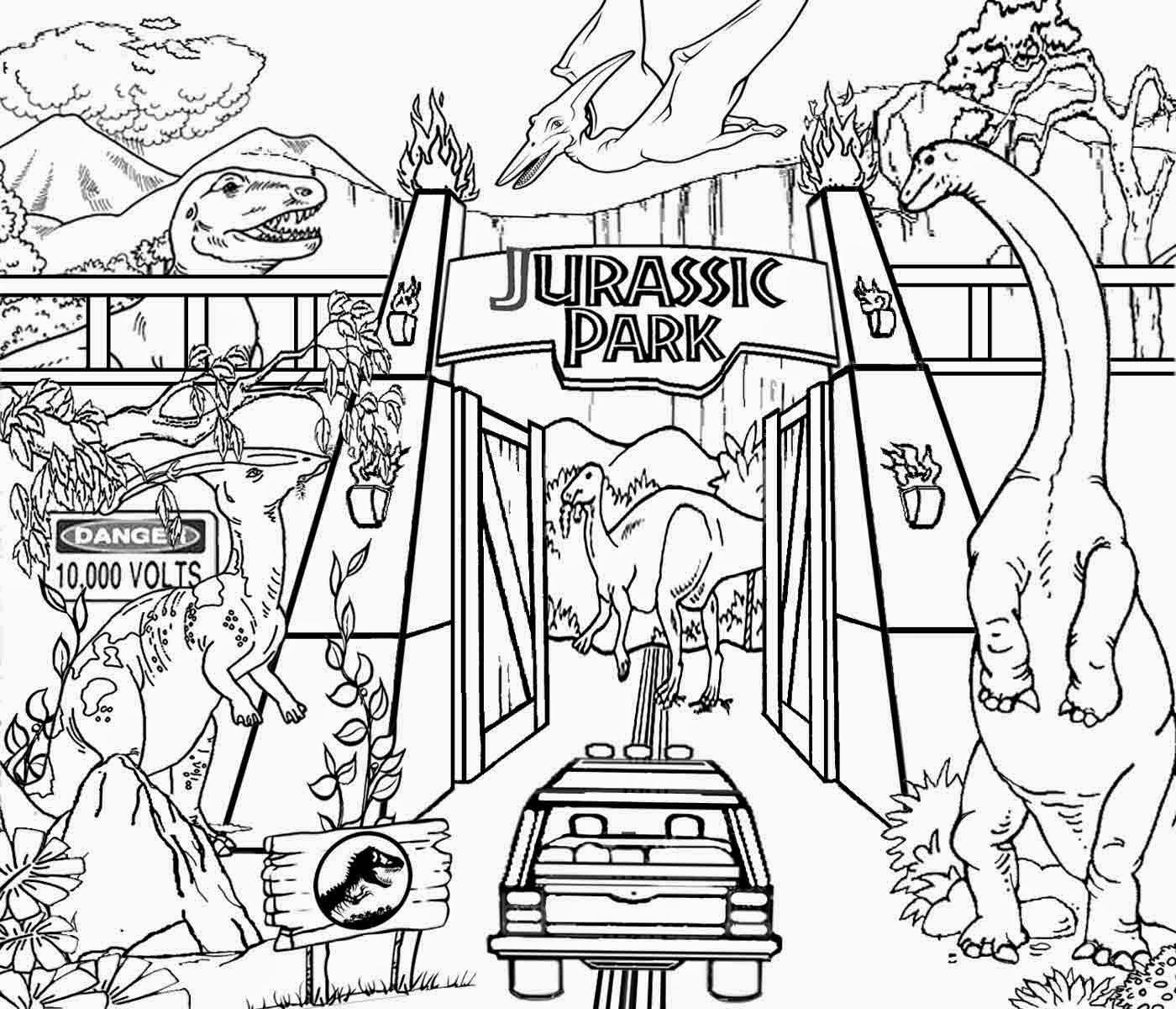 Dinosaurs coloring games online - Detailed Printable High Resolution Free Clipart Jurassic Park Dinosaur Coloring Pages For Older Kids