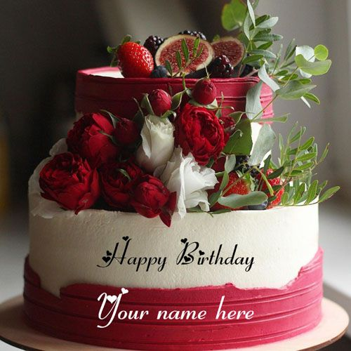 Flower Birthday Cake With Name Edit - Bios Pics | Cake ...