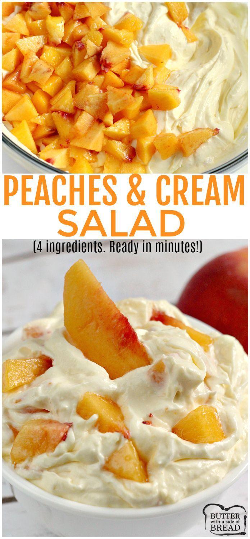 Pfirsich-Sahne-Salat kommt mit nur 4 Zutaten in wenigen Minuten zusammen ...   - Tasty Recipes and Great Ideas - #Great #ideas #kommt #Minuten #mit #nur #PfirsichSahneSalat #RECIPES #Tasty #wenigen #zusammen #Zutaten #peachideas