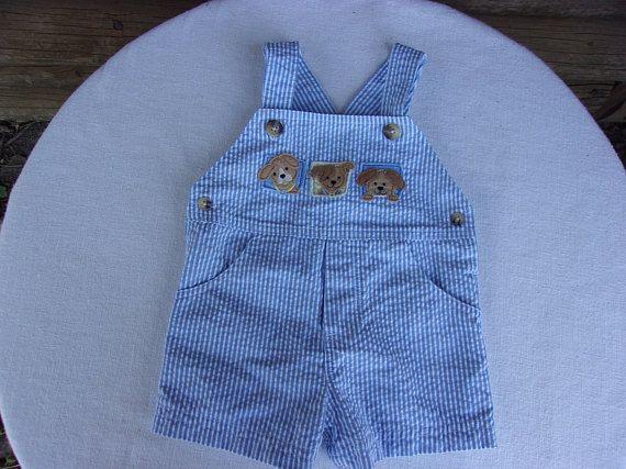 7c0a2e3b56ce Baby Boy Bib Shorts, Blue & White Seersucker, Puppies Appliqued on Front, 3  Month Size, Snaps, Classic Beachwear