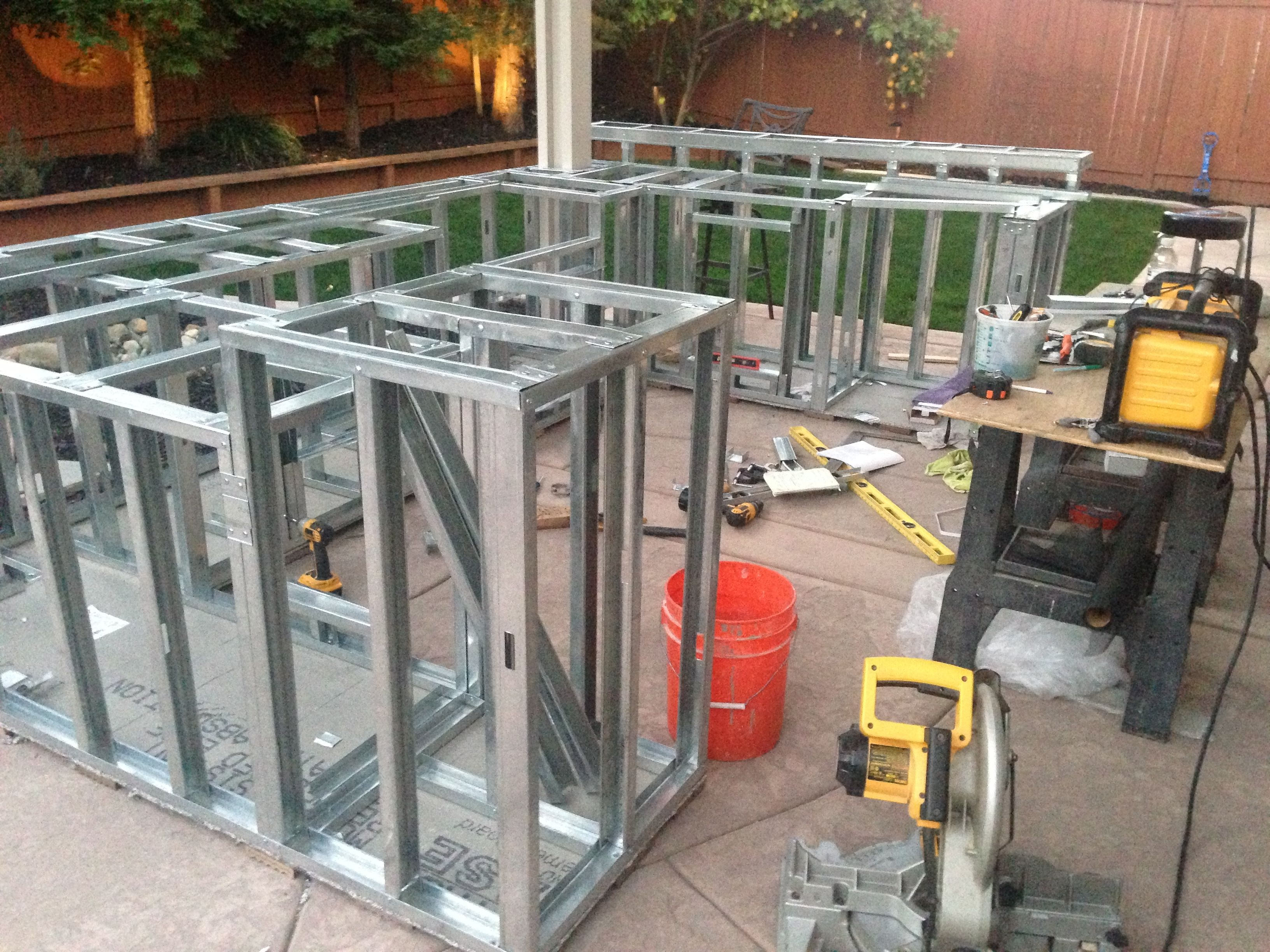 Outdoor Kitchen Steel Stud Framing